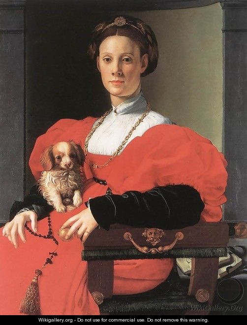 Portrait Of A Lady With A Puppy - Agnolo Bronzino