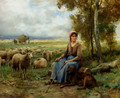 Shepherdess Watching Over Her Flock - Julien Dupre