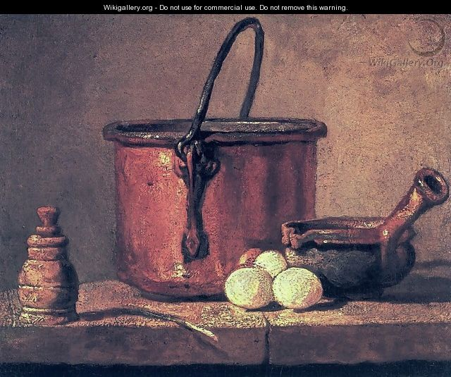 Still Life With Copper Cauldron And Eggs - Jean-Baptiste-Simeon Chardin