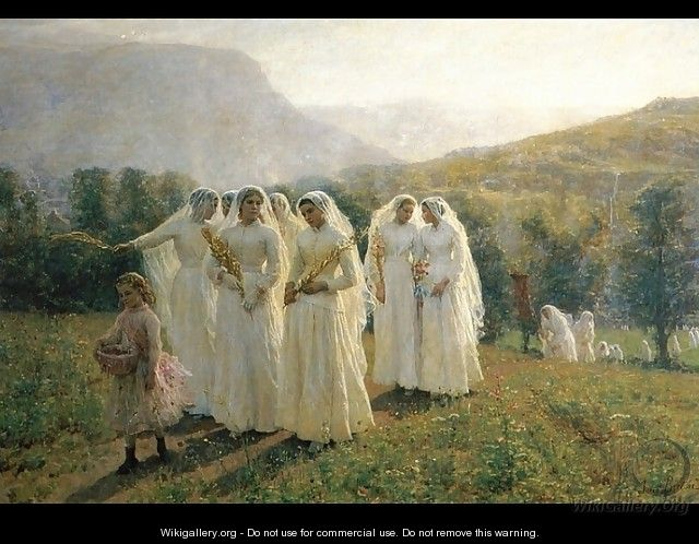 Young Women Going To A Procession - Jules (Adolphe Aime Louis) Breton