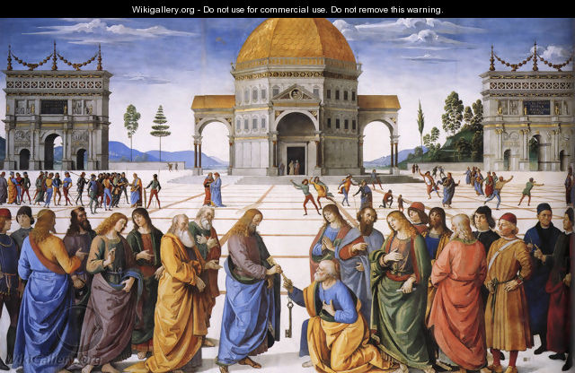 Christ Handing the Keys to St Peter 1481-82 - Pietro Vannucci Perugino