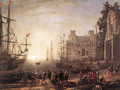 Port Scene with the Villa Medici 1637 - Claude Lorrain (Gellee)