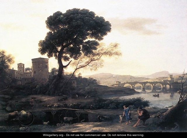 Landscape with Shepherds - The Pont Molle 1645 - Claude Lorrain (Gellee)