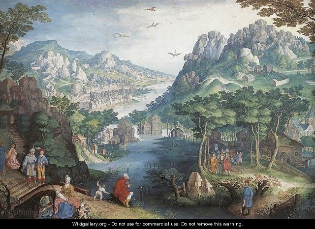 Mountain Landscape with River Valley and the Prophet Hosea - Gillis van Coninxloo