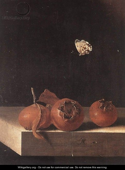 Three Medlars with a Butterfly c. 1705 - Adriaen Coorte