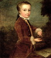 Portrait of Wolfgang Amadeus Mozart (1756-91) aged eight, holding a bird's nest - Johann Zoffany