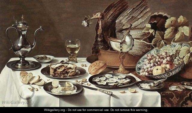 Still-life with Turkey-Pie - Pieter Claesz.