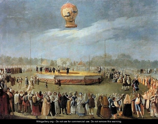 Ascent of the Balloon in the Presence of Charles IV and his Court c. 1783 - Antonio Carnicero Y Mancio