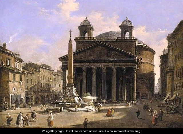 View of the Pantheon Rome - Ippolito Caffi