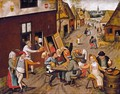 Peasants Making Merry outside a Tavern 'The Swan' c. 1630 - Jan, the Younger Brueghel