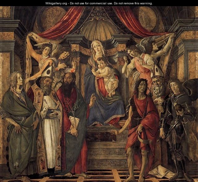The Virgin and Child with Four Angels and Six Saints (Pala di San Barnaba) 1488 - Sandro Botticelli (Alessandro Filipepi)