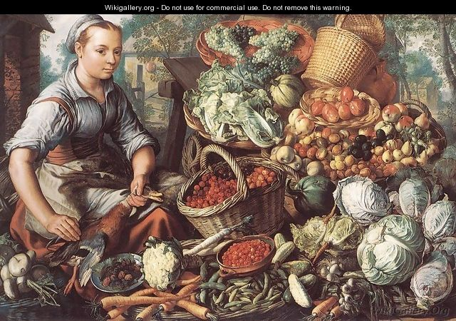 Market Woman with Fruit, Vegetables and Poultry 1564 - Joachim Beuckelaer