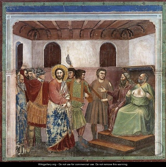 No. 32 Scenes from the Life of Christ- 16. Christ before Caiaphas 1304-06 - Giotto Di Bondone