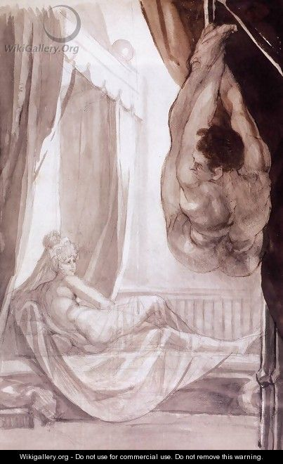 Brunhilde Observing Gunther, Whom She Has Tied to the Ceiling 1807 - Johann Henry Fuseli