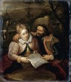 A Young Lady and a Cavalier Holding a Letter - Frans III Francken