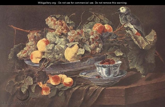 Still-life with Fruits and Parrot c. 1640 - Jan Fyt