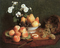 Flowers & Fruit on a Table 1865 - Ignace Henri Jean Fantin-Latour