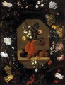 Still-Life with Flowers with a Garland of Fruit and Flowers c. 1645 - Juan De Espinosa