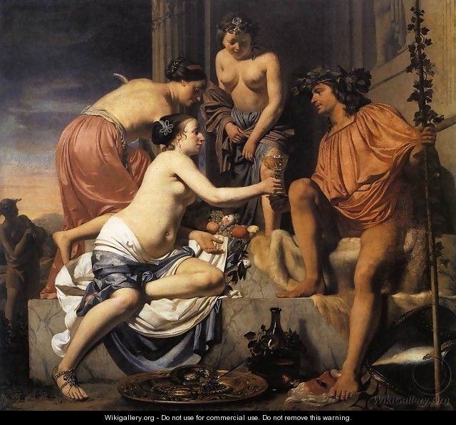Nymphs Offering the Young Bacchus Wine, Fruit and Flowers 1670-78 - Caesar Van Everdingen