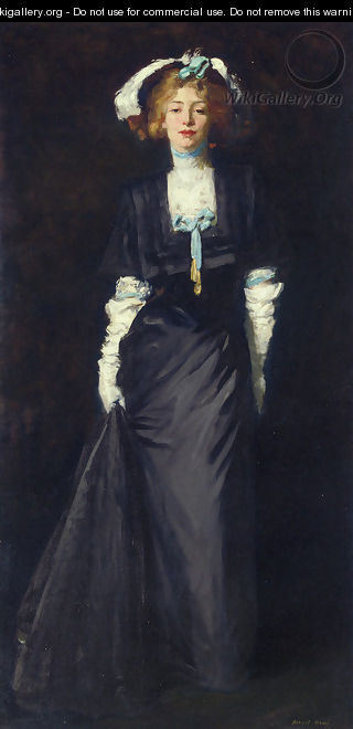 Jessica Penn In Black With White Plumes - Robert Henri