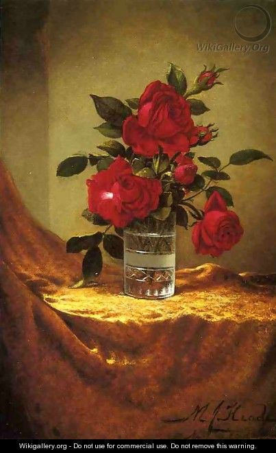 A Glass Of Roses On Gold Cloth - Martin Johnson Heade