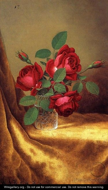 Red Roses In A Crystal Goblet - Martin Johnson Heade