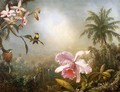 Orchids Nesting Hummingbirds And A Butterfly - Martin Johnson Heade