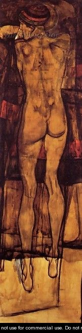 Female Nude Back View - Egon Schiele