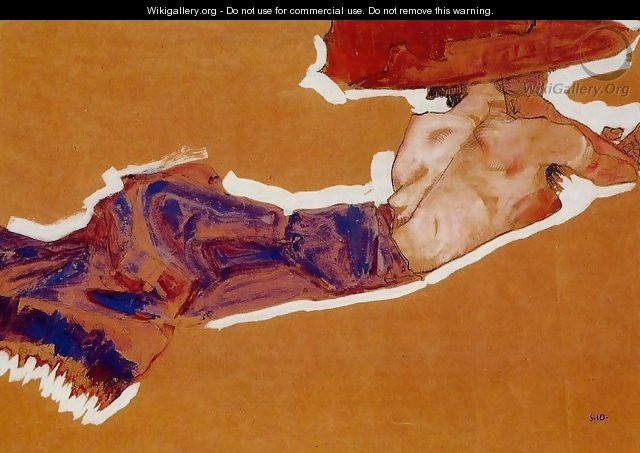 Reclining Semi Nude With Red Hat - Egon Schiele