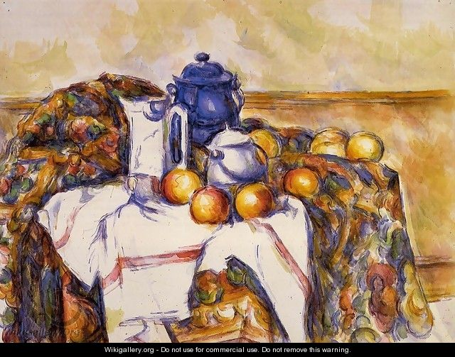 Still Life With Blue Pot - Paul Cezanne