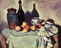 Still Life Post Bottle Cup And Fruit - Paul Cezanne