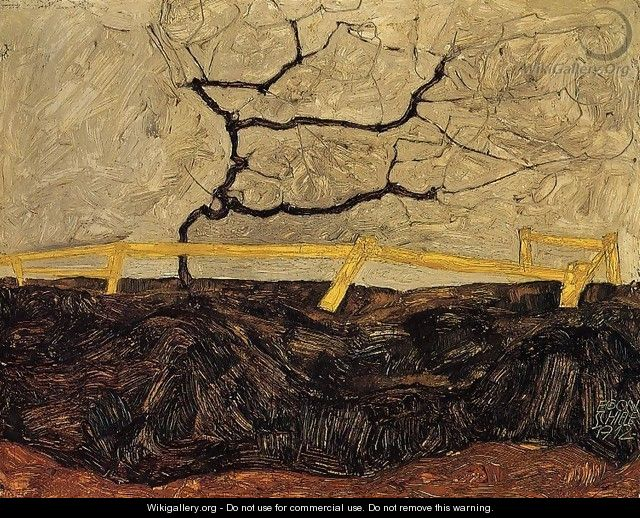 Bare Tree Behind A Fence - Egon Schiele
