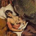 Hortense Breast Feeding Paul - Paul Cezanne