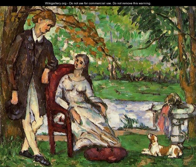 Couple In A Garden Aka The Conversation - Paul Cezanne