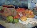 Still Life With Onions Beetroot And A Japanese Print - Paul Gauguin
