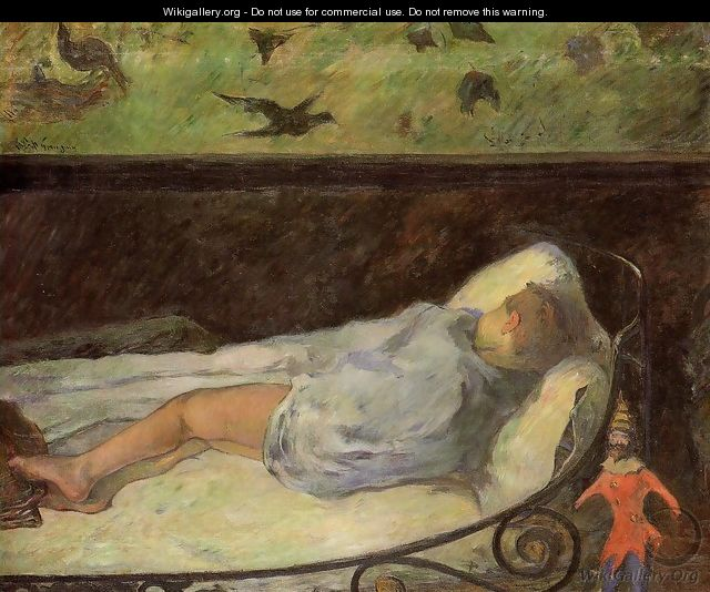 Young Girl Dreaming Aka Study Of A Child Asleep The Painters Daughter Line Rue Carcel - Paul Gauguin