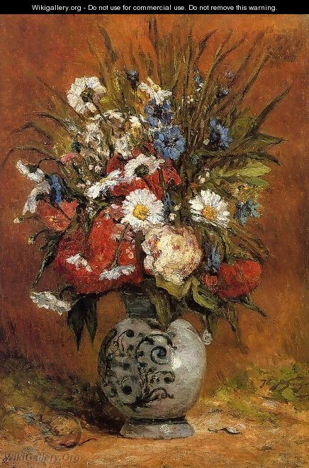 Daisies And Peonies In A Blue Vase - Paul Gauguin