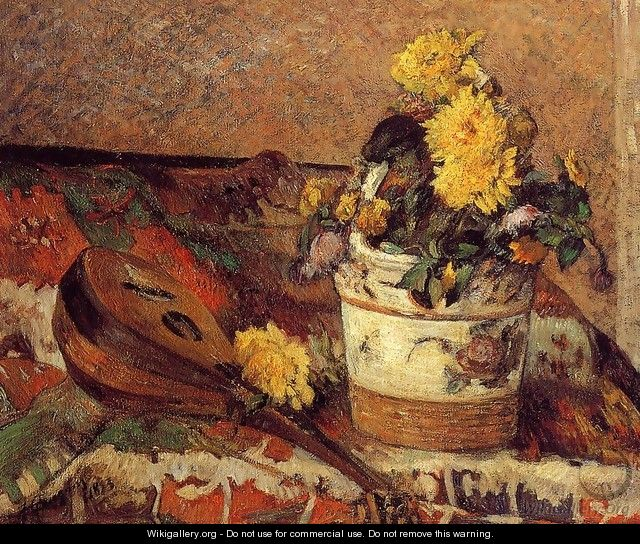 Dahlias And Mandolin - Paul Gauguin