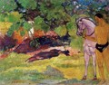 In The Vanilla Grove Man And Horse Aka The Rendezvous - Paul Gauguin