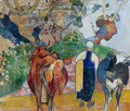 Peasant Woman And Cows In A Landscape - Paul Gauguin