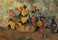 Nasturtiums And Dahlias In A Basket - Paul Gauguin