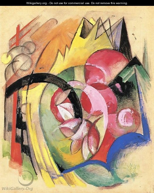 Coloful Flowers Aka Abstract Forms - Franz Marc