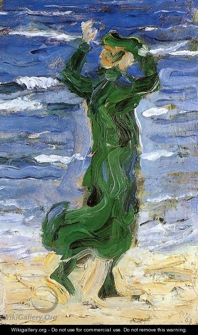 Woman In The Wind By The Sea - Franz Marc