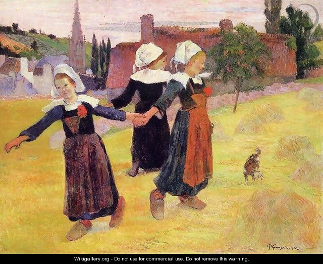 Breton Girls Dancing Aka Dancing A Round In The Haystacks - Paul Gauguin