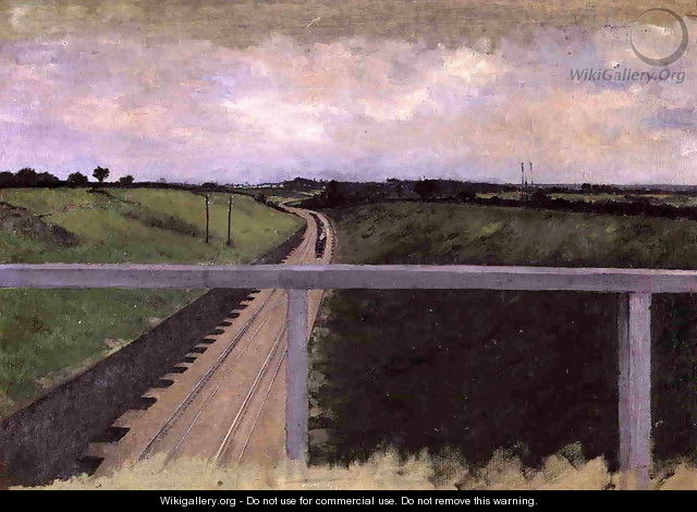 Landscape With Railway Tracks - Gustave Caillebotte