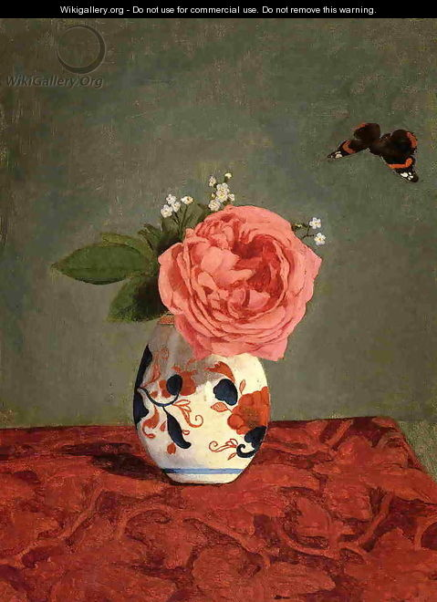 Garden Rose And Blue Forget Me Nots In A Vase - Gustave Caillebotte