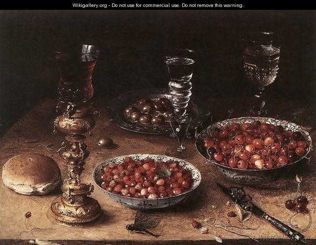 Still-Life with Cherries and Strawberries in China Bowls 1608 - Osias, the Elder Beert