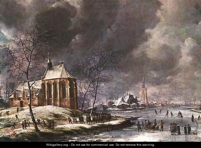 Village of Nieukoop in Winter with Child Funeral - Jan Abrahamsz. Beerstraten