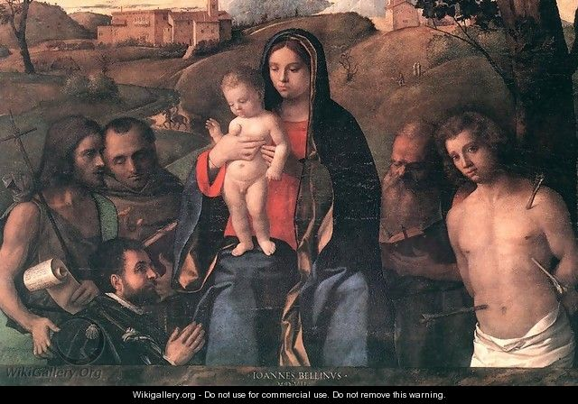 Madonna and Child with Four Saints and Donator 1507 - Giovanni Bellini