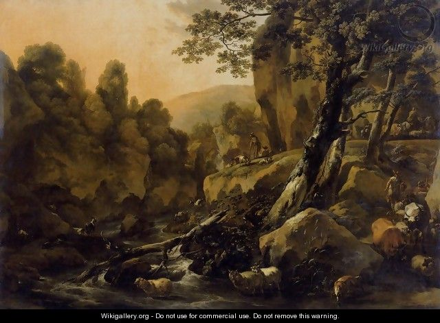 Herdsmen and Herds at a Waterfall c. 1665 - Nicolaes Berchem